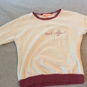 "Rebellious One Sweaters - ""Need coffee"" soft crew neck sweater"